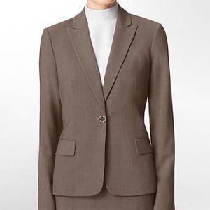New Calvin Klein Heather Taupe One Button Blazer